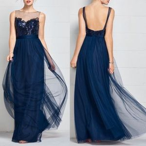 Navy Blue Tulle Gown